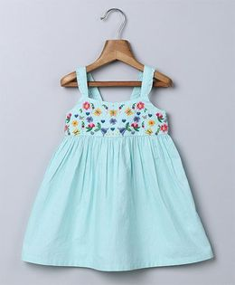 Beebay Singlet Embroidered Sun Dress - Turquoise