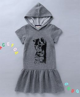 Holy Brats Drop Waist Hooded Dress - Grey
