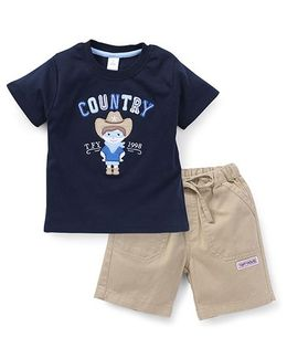 ToffyHouse Half Sleeves T-Shirt Printed And Shorts - Navy Beige