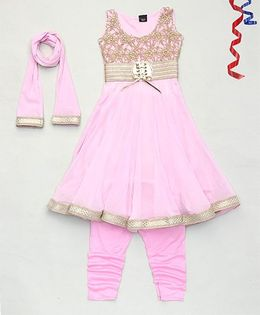 Party Princess Flower Design Kurti & Churidar With Dupatta - Pink