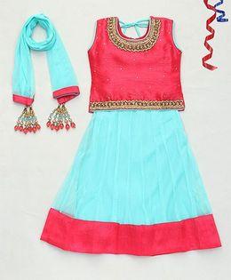 Party Princess Choli Lehanga Set & Dupatta Attached With Latkan   - Fuchsia