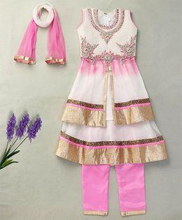 Party Princess Kurti Churidar & Skirt Set With Dupatta - Pink