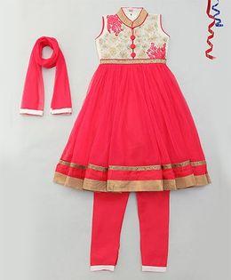Party Princess Collar Neck Kurti With Front Buttons & Churidar With Dupatta - Red