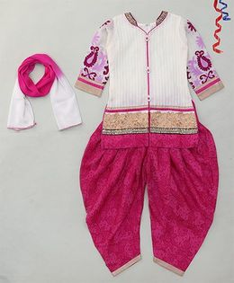 Party Princess Kurti With Front Buttons & Patiala With Dupatta - Purple