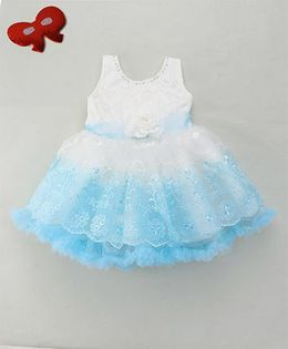 Eiora Elegant Floral Party Dress - Sky Blue & White