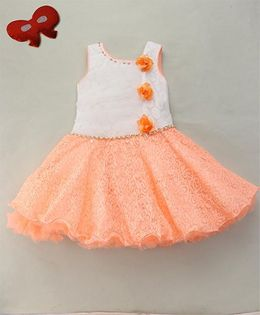 Eiora Elegant Party Wear Dress With Flowers Detailing - Orange