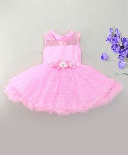 Eiora Elegant Party Wear Dress With Flower At Waist - Pink