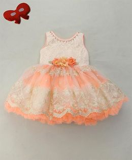 Eiora Flower At Waist Party Dress - Peach