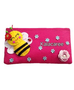 Kalacaree Honey Bee & Flower Patch Pencil Pouch - Pink