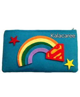 Kalacaree Rainbow Patch Pencil Pouch - Green Blue