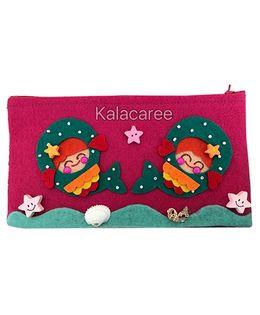 Kalacaree Mini Doll & Fish Patch Pencil Pouch - Dark Pink