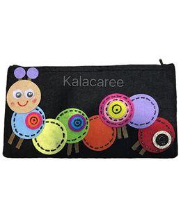 Kalacaree Cute Caterpillar Patch Pencil Pouch - Black