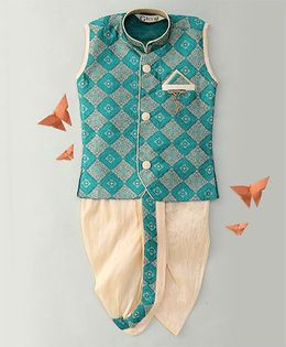 Little Groom Contrast Border Dhoti Jacket & Kurta With A Pocket Squares- Green