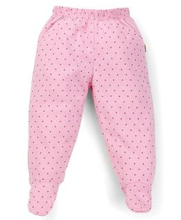 Tiny Bee Dot Print Girls Footed Leggings - Pink