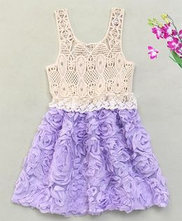 Adores Pretty Rose Crochet Dress - Purple