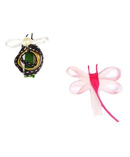 Reyas Accessories Set Of Bug And Dragonfly Hair Clip - Pink & Yellow