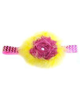 Reyas Accessories Feathery Headband - Yellow & Dark Pink