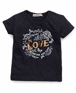 Fox Baby Half Sleeves T-Shirt Love Print - Black