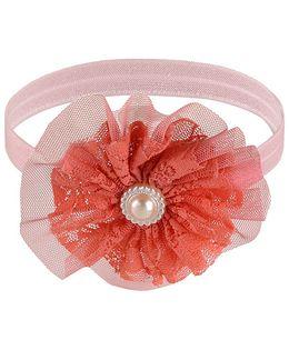 Little Cuddle Flower & Bead Headband - Orange
