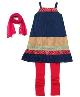 AlpnaKids 2 Piece Set Kurta & Tights - Indigo & Red