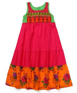 AlpnaKids Floral Cotton Dress - Orange & Rani