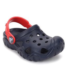 Crocs Clogs With Back Strap - Navy Red