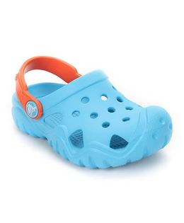 Crocs Clogs With Back Strap - Sky Blue Orange