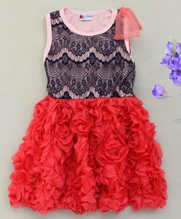 Adores Beautiful Rose Detailing Dress - Red