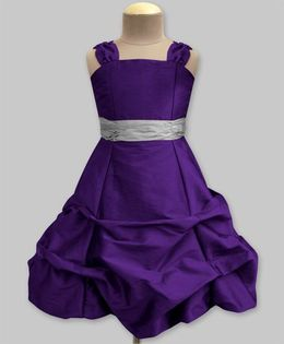 A.T.U.N Ballroom Gown With Silver Belt - Violet & Silver