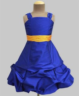 A.T.U.N Ballroom Gown With Amber Belt - Royal Blue & Amber