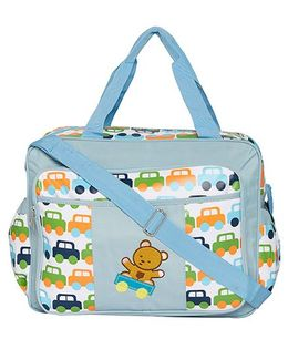 Ez Life Cars & Teddy Printed Multi Pocket Diaper Carry Bag - Blue
