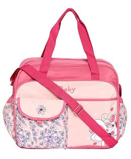 Ez Life Flowers Printed Large Diaper Carry Bag - Pink