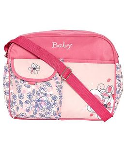 Ez Life Flowers Printed Medium Diaper Carry Bag - Pink