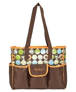 Ez Life Happy Monkey Printed Baby Diaper Carry Bag - Brown & Orange