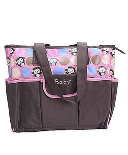 Ez Life Happy Monkey Printed Large Carry Bag - Brown & Pink