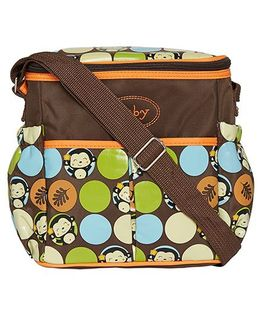 Ez Life Happy Monkey Diaper Carry Bag - Brown & Orange