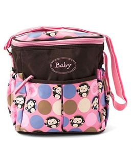 Ez Life Happy Monkey Diaper Carry Bag - Brown & Pink