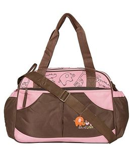 Ez Life Animal Safari Baby Diaper Carry Bag - Pink & Brown