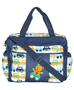 Ez Life Cars & Teddy Printed Baby Diaper Multi Pocket Carry Bag - Blue