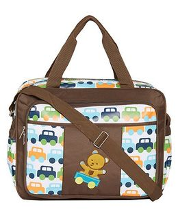 Ez Life Baby Cars & Teddy Printed Diaper Multi Pocket Carry Bag - Brown