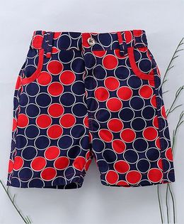 Murphy Mouse Circle Print Shorts - Red & Blue