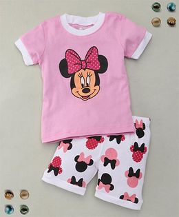 Adores Cartoon Printed Tee With Shorts Sleepsuit - Pink