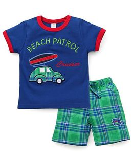ToffyHouse Half Sleeves T-shirt And Shorts With Car Patch - Blue Green