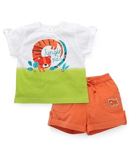 ToffyHouse Short Sleeves T-Shirt Printed And Shorts - White Green Orange