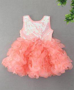 M'Princess Stylish Flower Design Party Dress - Orange