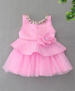 M'Princess Sleevless Flower Design Party Dress - Pink