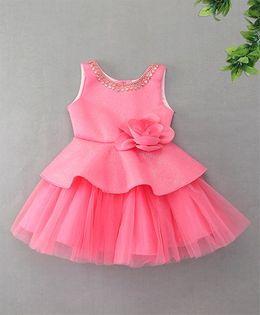 M'Princess Peplum Style Flower Design Dress - Pink