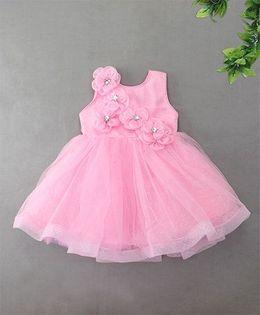 M'Princess Shimmer Dress With Diamond Studded Flower - Pink