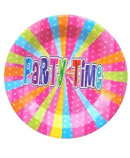 Shopaparty 10 Pieces Disco Party Paper Plates - Multicolour
