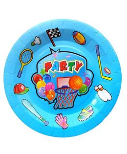 Shopaparty 10 Pieces Sports Theme Paper Plates - Blue